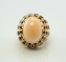 Angel Skin Coral Red Enamel Ring 18K Yellow Gold Cocktail