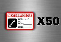 50 x sticker next service car van truck oil garage reminder change reminder