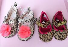 Disney Minnie Mouse Baby Girl animal print booties pram shoes 3-6 months new