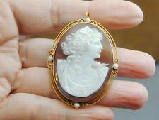 HUGE 10k Carved Shell Cameo Natural Baroque Pearl Pin Pendant Woman