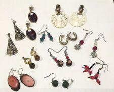 Vintage Lot 11 Pierced Earrings - Dangle & Hoop