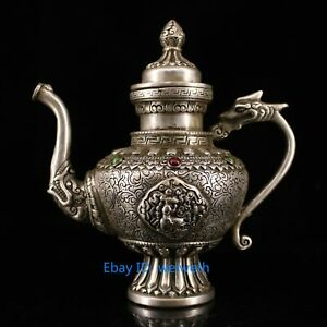 Collection Chinese Old Tibetan Silver Hand Carved Flower Dragon Mouth Teapot