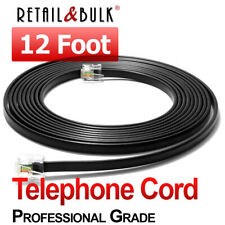 12 Foot Telephone Cord RJ11 (6P4C) Professional Grade Phone Line Cable, Black