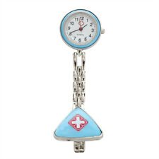 Light Blue Nurse Brooch Fob Tunic Pocket Watch C8D8