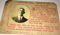 Rare Antique American State of New York Occupational Chauffeur's License! C.1921