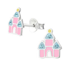 Girls Childrens Sterling Silver Pink Castle Stud Earrings - Boxed -1st Class