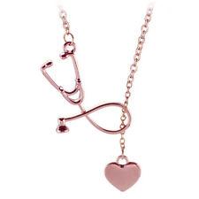 Stethoscope Necklace Lariat Heart Pendant Necklace Nurse Medical Necklace Collar