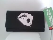 Ladies Canvas Wallet Card Player Theme Embroidered Poker Rummy Gin Spades