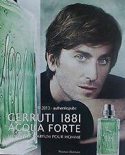 PUBLICITE CERRUTI 1881 PARFUM AQUA FORTE THOMAS DUTRONC DE 2013 FRENCH AD PUB