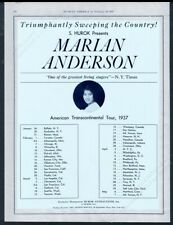 1937 Marian Anderson photo singing recital tour booking trade print ad