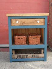 Rustic Kitchen Cupboard.Solid Pine. Chunky. Wicker Baskets. Fruit Crate