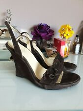 Faith Brown Suede Wedges Size 3