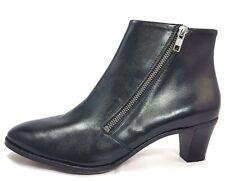Gravati Black Leather Side Zipper Boots Size 8.5 Made In Italy Booties