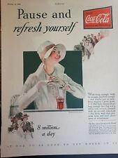 1928 Coca Cola Pretty Woman Girl Floppy Hat Original Print Ad