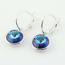 Bella Drop Dangle Earrings Sapphire Blue Made with Swarovski Crystals Rhodium
