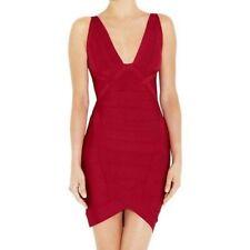 Herve Leger Ari Essential XS Red Plunging V Neck Bandage Bodycon Mini Dress