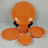 Fiesta Ware Tangerine 5 Piece Place Setting Homer Laughlin Fiestaware
