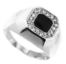 Black Enamel And CZ Stones Silver Rhodium Plated Ring Size 13