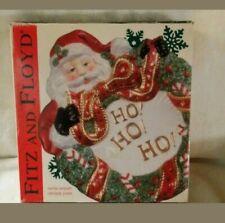 2002 Fitz & Floyd Santa W/Wreath Canape Plate/Wall Hanger Ho Ho Ho Plate New
