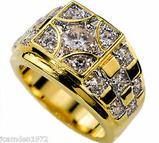 Mens Championship style ring 17 cz 18K yellow gold overlay size 9