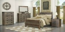 Amish Modern 5-Pc Bedroom Set Solid Wood Inlays Gray Queen King