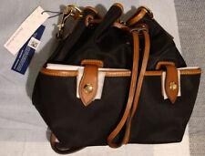 NEW Dooney & Bourke Black Leather Nylon Drawstring Wayfarer Collection purse bag