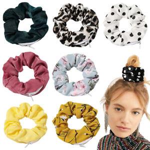 Zipper Scrunchies Women Fabric Hair Bands Winter Hair Tie Pocket Scrunches Zip