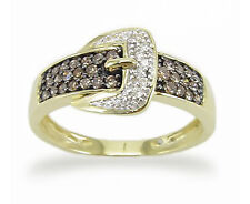 Chocolate Brown Diamond Belt Buckle Ring 10K Yellow Gold White Diamond Accents