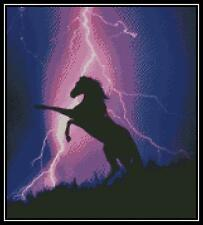 Lightning and Silhouette of Horse - Cross Stitch Chart/Pattern/Design/XStitch
