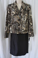 Evan Picone Suit Sz 10 Black Multi Port Elizabeth Taffeta Career Skirt Suit