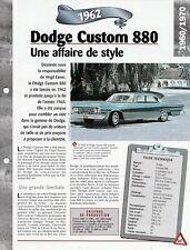 VOITURE DODGE CUSTOM 880 FICHE TECHNIQUE AUTOMOBILE 1962 COLLECTION CAR
