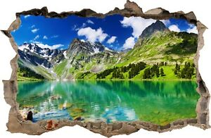 WALL STICKERS HOLE IN THE WALL 3D Mountain Lake sticker to the room 32