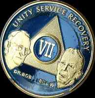 AA Founders 7 Year Chip Gold Plated Blue Alcoholics Anonymous Medallion Coin