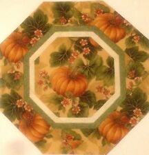 """FALL HARVEST PUMPKIN FLORAL QUILTED TABLE TOPPER MINI QUILT - 13"""""""