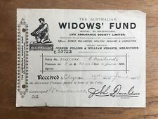 1904 RARE 'THE AUSTRALIAN WIDOWS' FUND LIFE ASSURANCE SOCIETY LTD' RECEIPT P39