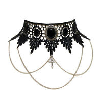 Black Onyx gothic choker necklace steampunk Draped chains and cross goth jet