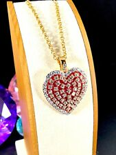 NOLAN MILLER GOLD-TONE CHAIN NECKLACE PUFFY HEART RED ENAMEL RHINESTONE PENDANT