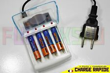 4 PILES ACCUS RECHARGEABLE AAA LR03 1.2V 3600mAh Ni-Mh + CHARGEUR CHARGE RAPIDE