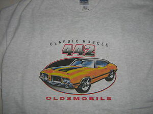 OLDS 442 T-SHIRT- OLDS 1969 1970 1971~69 70 71 - Lg and XL ONLY - Light Gray