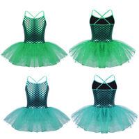 Girls Mermaid Shiny Leotard Ballet Tutu Dress Ballerina Dance Gymnastics Costume