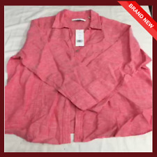 Foxcroft Ladies' Long Sleeve Button Down Top M Hibiscus