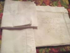 Antique Vintage Embroidered White Pillow Cases -Three - Button Hole Closures