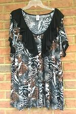 Womens BROWN BLACK Leopard Abstract Yummy Plus Top Size 6X