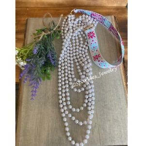 """Plunder Mary Beth Necklace - Faux Pearl beads on floral fabric strap. 44"""""""