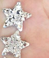 RESIN SILVER STAR STUD EARRINGS 16MM