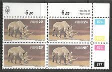 South West Africa  - Spitzmaulnashorn   - Block of 4 - Reprint 11.06.1985
