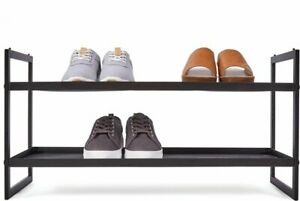 2-Tier Mesh Shoe Rack - Black