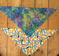 Pair of abstract and  feather dog bandanas multi coloured