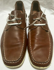 STEVE MADDEN Fathomm Brown Leather Driving Moccasins Casual Boat Shoes Sz 13