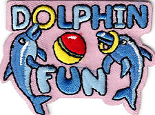 """""""DOLPHIN FUN"""" -  Iron On Embroidered Patch /Nautical, Sea Fish, Ocean, Beach"""